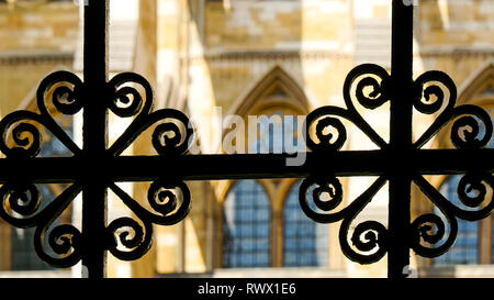 The gate of the Westminster Abbey church in London Showing some glimpse of the beauty of the architecture - Stock Photo