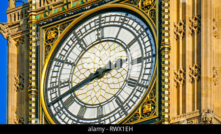 Closer look of the Big Ben in London Big Ben is the nickname for the Great Bell of the clock at the north end of the Palace of Westminster in London a Stock Photo