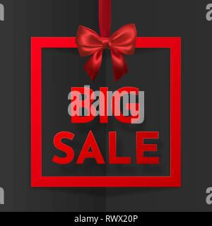 Big sale. Bright holiday gift box frame banner hanging with red ribbon and silky bow on dark background. Vector illustration. - Stock Photo