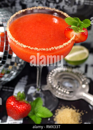 Strawberry Daiquiri Cocktail on black Background - Stock Photo