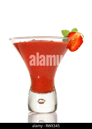 Strawberry Daiquiri Cocktail on white Background - Stock Photo