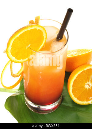 Tequila Sunrise Cocktail on white Background - Stock Photo