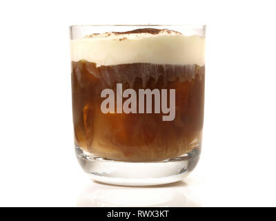 White Russian Cocktail on white Background - Stock Photo