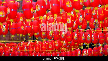 London, England, UK. Chinese lanterns hanging in Chinatown - Stock Photo