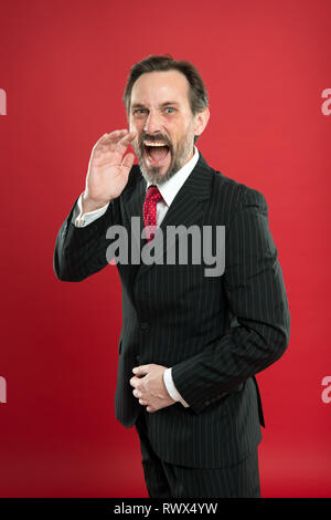 Loud announcement. Man shouting to you. Man try to persuade you in something. Mature charismatic speaker shouting. Public talk and art of persuasive. Oratory concept. Guy formal suit shouting face. - Stock Photo