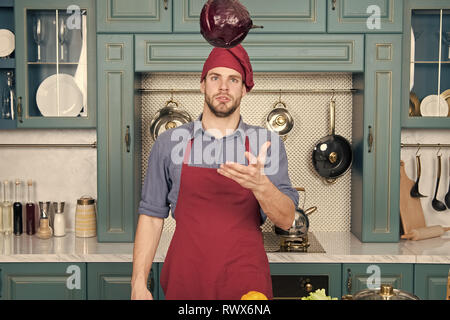 Make it easy. Relax put on some music. Composed cook is more efficient one. Man chef likes to cook in relaxing atmosphere. Guy professional chef feels relaxed and concentrated white cooking. - Stock Photo