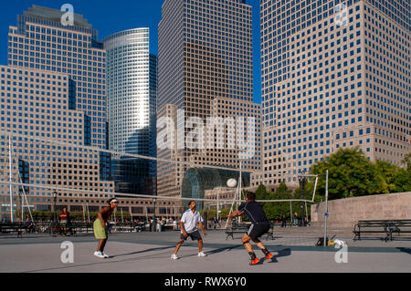 Handball near the World Financial Center. In the past was connected to the World Trade Center by a bridge. It houses about four office towers and a sh - Stock Photo