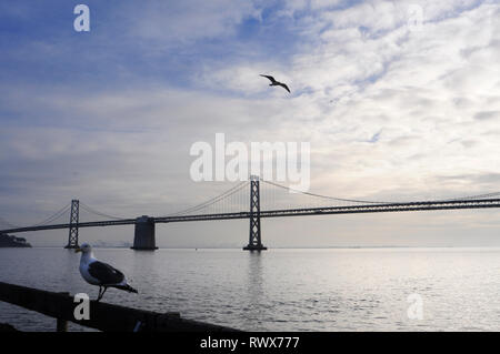 The Bay Bridge and skyline of San Francisco seen from Treasue Island. Classic panoramic view of San Francisco skyline with famous Oakland Bay Bridge i - Stock Photo