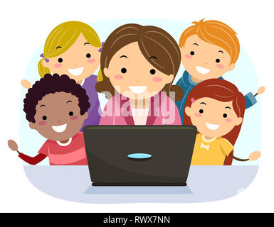 Illustration of Stickman Kids with Teaching Showing Something in Her Laptop - Stock Photo