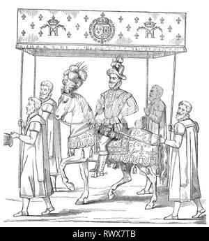 Heinrich IV., von Navarra, Henri IV, Henri Quatre, Henri le Grand, born 1553, died 1610 in Paris, zu Pferde und mit Baldachinträgern bei seiner Ankunft in Rouen  /  Henry IV., of navarra, henri IV, henri quatre, henri le grand, born 1553, died in 1610 in paris, to horses and with canopy carriers on his arrival in rouen - Stock Photo
