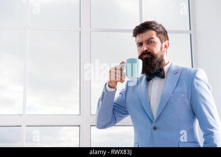 future opportunities. serious bearded man drink coffee. businessman in formal outfit. modern life. confident business man at window. future success. morning inspiration. copy space. Future is now. - Stock Photo