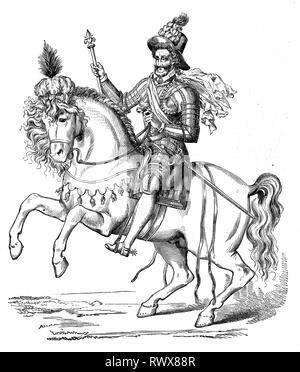 Heinrich IV., von Navarra, Henri IV, Henri Quatre, Henri le Grand, geboren 1553, gestorben 1610 in Paris, zu Pferde, Frankreich  /  Henry IV, of Navarre, Henry IV, Henri Quatre, Henri le Grand, born 1553, died 1610 in Paris, to horses, France - Stock Photo
