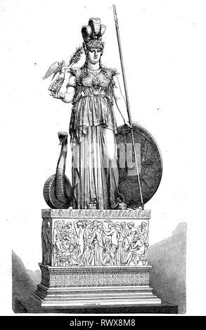 Minerva ist eine römische Göttin, die insbesondere von den Sabinern, Etruskern und Latinern verehrt wurde / Minerva was the Roman goddess of wisdom and strategic warfare and the sponsor of arts, trade, and strategy - Stock Photo