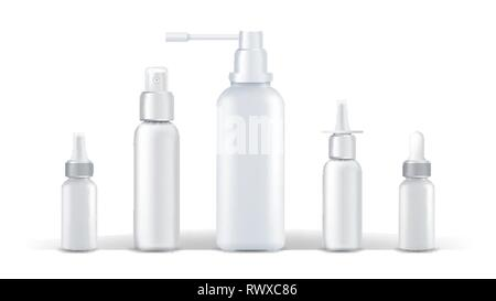 Medical Container Vector. Spray Runny Nose. White Plastic Bottle Mockup. Branding Design. Health. White Can. Isolated Realistic Illustration - Stock Photo