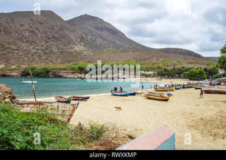 Cape Verde, Santiago island: colourful fishing barges on the sand of Tarrafal Beach *** Local Caption *** - Stock Photo