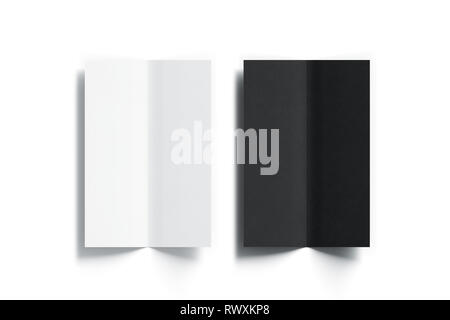 Blank black and white multi-page booklet menu mock up, opened top view, 3d rendering. Plain wine cafe or bar twofold brochures mockups set isolated. F - Stock Photo
