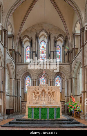View of Rochester Cathedral, formally the Cathedral Church of Christ and the Blessed Virgin Mary in the Kent, South east England city or Rochester - Stock Photo
