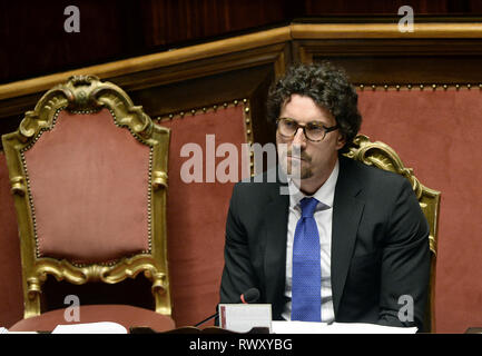 Foto Fabio Cimaglia / LaPresse 07-03-2019 Roma Politica Senato. Question Time Nella foto Danilo Toninelli   Photo Fabio Cimaglia / LaPresse 07-03-2019 Roma (Italy) Politic Senate. Question Time In the pic Danilo Toninelli - Stock Photo