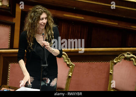 Foto Fabio Cimaglia / LaPresse 07-03-2019 Roma Politica Senato. Question Time Nella foto Erika Stefani   Photo Fabio Cimaglia / LaPresse 07-03-2019 Roma (Italy) Politic Senate. Question Time In the pic Erika Stefani - Stock Photo