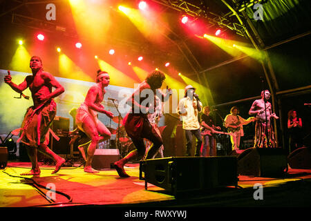 Adelaide, Australia. 7th Mar, 2019. Australian musical group Yothu Yindi  meaning 'child and mother' perform at the Adelaide Fringe consist of  Aboriginal and Balanda (non-Aboriginal) members. The band formed in 1986 combine aspects of both musical cultures from traditional Aboriginal songs  modern pop and rock songs, where they are blended with typical instruments associated with pop/rock bands, such as guitars and drums, and the traditional Yidaki and Bilma. Yothu Yindi performed at the Opening Ceremony of the 2000 Summer Paralympics in Sydney, Australia Credit: amer ghazzal/Alamy Live News - Stock Photo