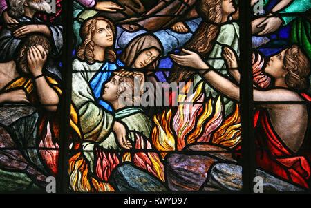 Fires of Hell Stained Glass Window In Basílica de Nuestra Señora de Los Ángeles, Cartago, Costa Rica - Stock Photo