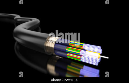 detail of optical fibre on dark background 3d rendering image - Stock Photo