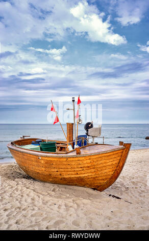 Old wooden fishing boat at the Baltic Sea in Binz. Island Rügen, Germany - Stock Photo