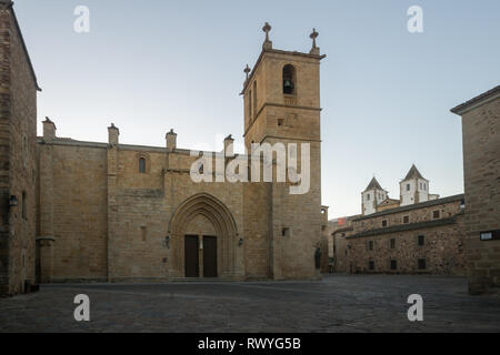 Sunset view of the Co-catedral de Santa Maria, in Caceres, Extremadura, Spain - Stock Photo
