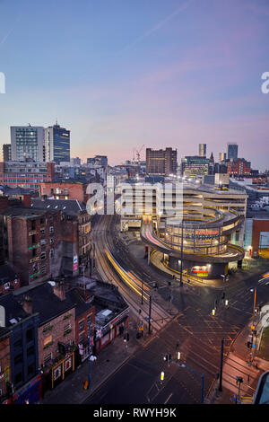 Dawn first light Manchester skyline from above looking over the Northern Quarter and the Arndale carpark - Stock Photo
