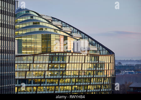 Dawn first light Manchester One Angel Square the Co-operative Group headquarters green office building - Stock Photo