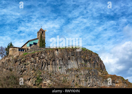 View of the church in Castellfollit de la Roca, Spain with an interesting sky - Stock Photo
