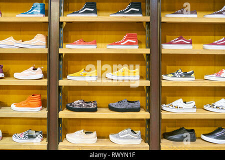 MOSCOW, RUSSIA - CRICA SEPTEMBER, 2018: shoes on display at a Vans shop in shopping center in Moscow. - Stock Photo