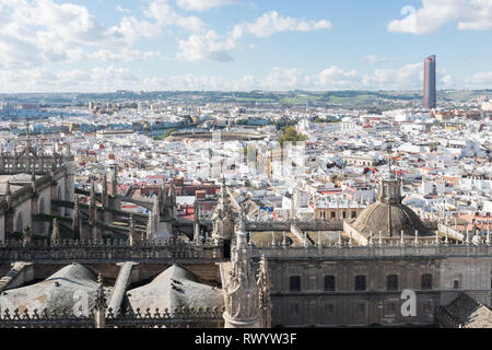 View from La Giralda, the bell tower which forms part of Seville Cathedral Stock Photo