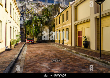 Old houses in the historical dockland area of Sydney. - Stock Photo