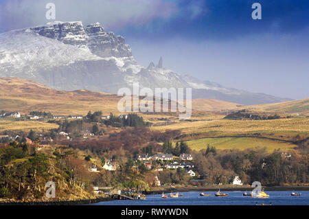 A view of Loch Portree with the Old Man of Storr Isle of Skye, Scotland. - Stock Photo