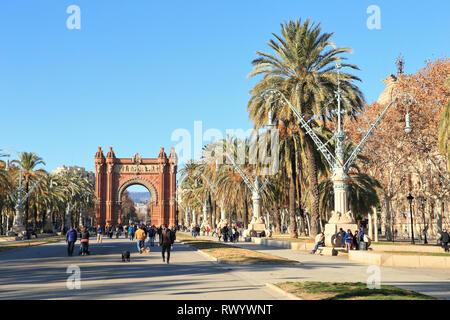 Arc de Triomf, Parc de la Ciutadella, Passeig de Lluís Companys, Barcelona - Stock Photo