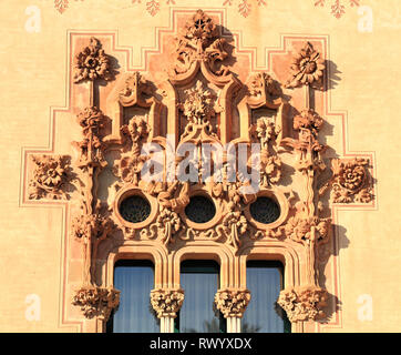 Relief sculpture facade at Can Bassa building, Vilassar de Mar, Barcelona. Ocean trade route. - Stock Photo