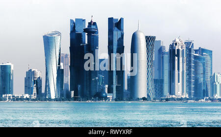 Panoramic view on financial center of Doha from West Bay  .Doha is a city on the coast of the Persian Gulf - Stock Photo