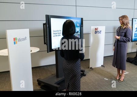 U.S First Lady Melania Trump listens to an online safety presentation by Jacqueline Beauchere, Microsoft Chief Online Safety Officer at the Microsoft Executive Briefing Center March 4, 2019 in Redmond, Washington. - Stock Photo