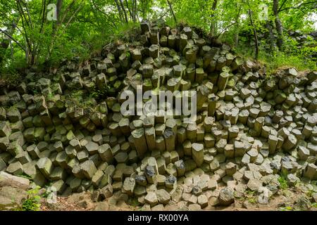 Basalt prisms, Gangolfsberg, Rhön Biosphere Reserve, Bavaria, Germany - Stock Photo