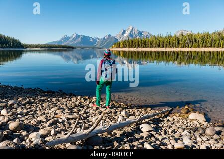 Young woman with rucksack standing on shore, mountains reflected in lake, Colter Bay, Jackson Lake, Teton Range - Stock Photo