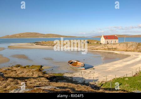 Crannag at Traig Mhor beach Isle of Barra, Outer Hebrides Western Isles. Scotland. - Stock Photo