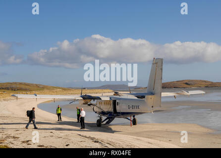 Aircraft about to depart from An Tràigh Mhòr beach Barra Airport, Barra, Outer Hebrides, Scotland - Stock Photo