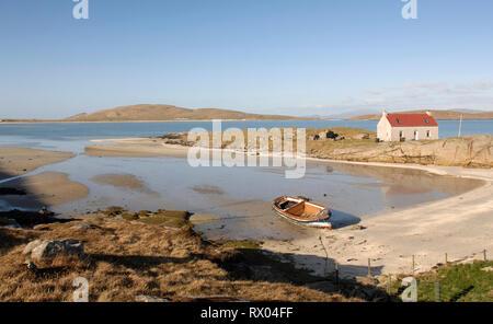 Crannag at Traig Mhor beach Isle of Barra, Outer Hebrides Western Isles. Scotland - Stock Photo