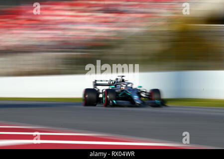 Montmelo, Barcelona - Spain. 28h February 2019. Lewis Hamilton of Great Britain driving the (44) Mercedes AMG Petronas F1 Team Mercedes W10 on track d - Stock Photo