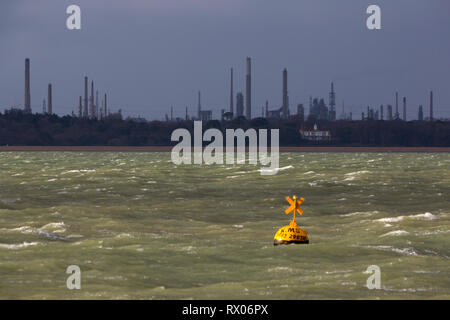 Fawley Oil Refinery, The Solent, Cowes, Isle of Wight, Hampshire, The New Foest, England, UK, - Stock Photo