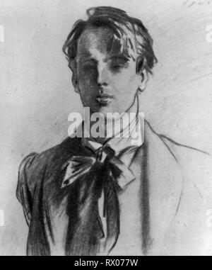 William Butler Yeats (1865–1939), 1908. William Butler Yeats, Irish poet. By John Singer Sargent (1856–1925). - Stock Photo
