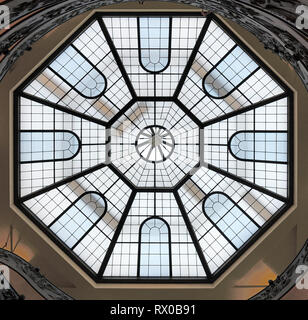 Octagonal Skylight or Roof Light Above Spiral Staircase, or Bramante Staircase, designed by Giuseppo Momo in 1932, Pio-Clementino Museum, Vatican - Stock Photo