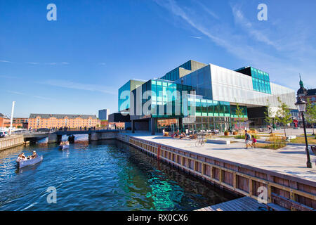 Copenhagen, Denmark-August 1, 2018: The BLOX building, a new prestige building for architecture and design on Christians Brygge in Copenhagen. (Also h - Stock Photo