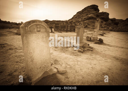 Tombstones in the Grafton Cemetery, Grafton ghost town, Utah USA - Stock Photo